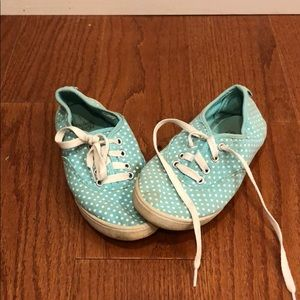 Baby blue polka dot shoes